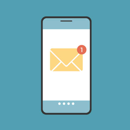 Flat design illustration of smartphone display with notification of incoming sms message or email. Yellow envelope with phone on green background - vector