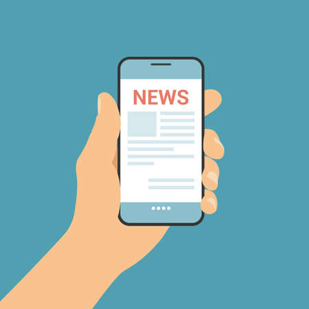 Flat design illustration of man hand holding mobile phone with online newsletter on screen - vector