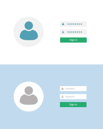 Flat design illustration of login screen set. Avatar and box for entering username and password - vector