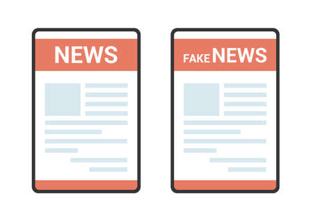 Flat design illustration of tablet with newsletter on the screen. Lettering News and Fakenews on a white background - vector