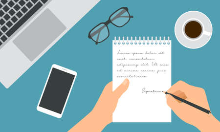 Flat design illustration of hand holding notebook and pencil writing notes. Work desk with laptop, glasses and cup of coffee - vector