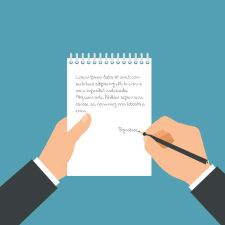 Flat design illustration of a manager's hand holding a paper pad and a pencil. He writes notes in a notebook - vector