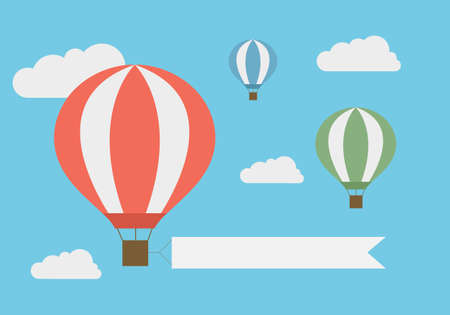 Flat design illustration of flying hot air balloon in the blue sky with white clouds and banner for adding your text - vector