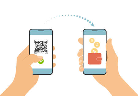 Flat design illustration of hand holding mobile phone. Scan QR code and pay online payment by smartphone to a bank account or wallet - vector