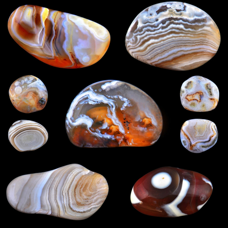 zonal: Agates collage on black background
