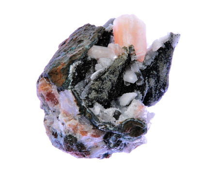 calcite: Stilbite (DESMIN) conglomerate with calcite, quartz and other mined