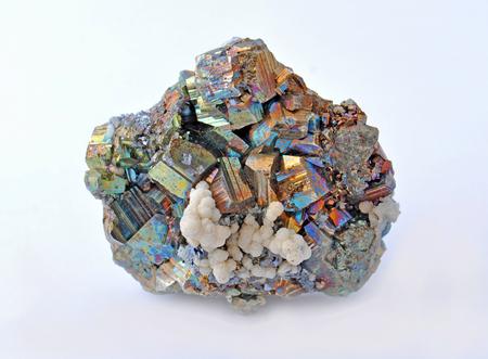 pyrite: Pyrite and chalcopyrite, beautiful single large cubes