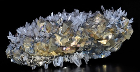 greenish blue: Chalcopyrite, pyrite and calcite white rock crystal