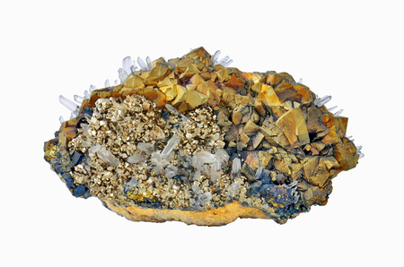 calcite: Chalcopyrite, pyrite and calcite white rock crystal