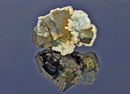 pyrite: Pyrite with a beautiful shell of calcite Stock Photo
