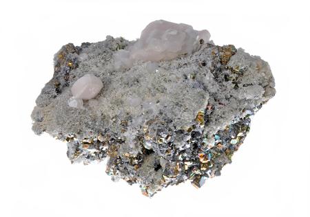 sulphide: Beautiful cluster of pyrite, quartz, galena, quartz pink