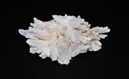Quartz crystals in a beautiful cluster Stock Photo