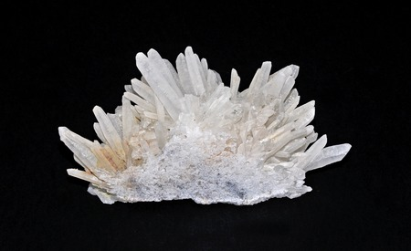chakra balancing: Quartz crystals in a beautiful cluster Stock Photo