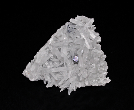 vibrations: Quartz crystals in a beautiful cluster Stock Photo