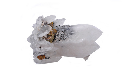 Quartz crystals with two peaks and chalcopyrite
