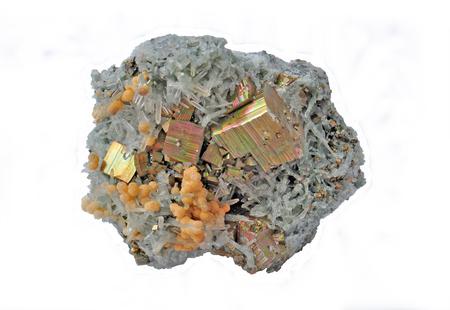 Quartz ,pyrite cubes and dolomite grains Stock Photo