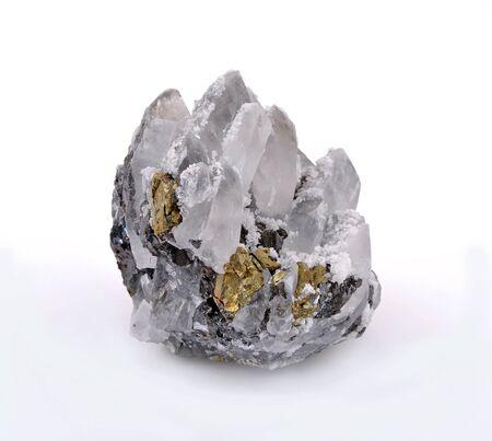 Quartz crystals,zinc blend and beautiful Chalcopyrite