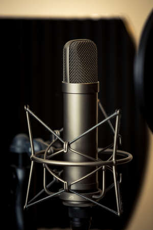 vocals: Tube microphone, professional microphone, recording studio, tv, song, sound, voice, studio, singer Stock Photo