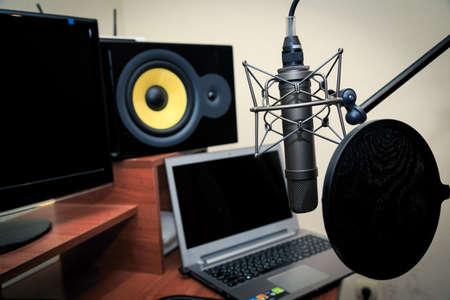 Tube microphone, professional microphone, recording studio, tv, song, sound, voice, studio, singer Stock Photo