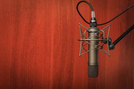 radio dj: Tube microphone, professional microphone, recording studio, tv, song, sound, voice, studio, singer Stock Photo