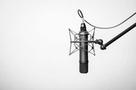 Tube microphone, professional microphone, recording studio, tv, song, sound, voice, studio, singer Stock Photo