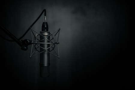 Tube microphone, micro professionnel, studio d'enregistrement, télévision, chanson, son, voix, studio, chanteur