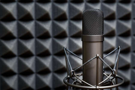 recording studio: Tube microphone, professional microphone, recording studio, tv, song, sound, voice, studio, singer Stock Photo