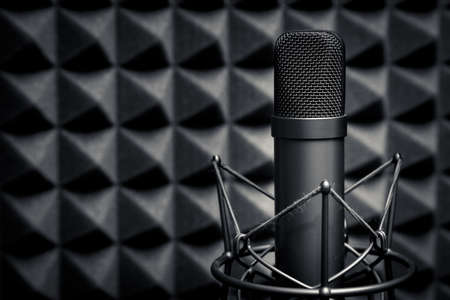 sound studio: Tube microphone, professional microphone, recording studio, tv, song, sound, voice, studio, singer Stock Photo