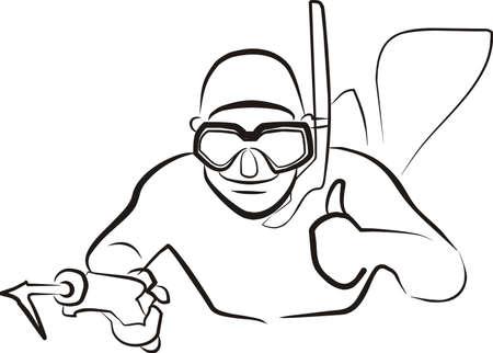 oxygen mask: spearfishing Illustration