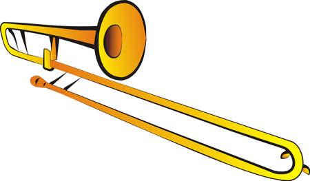 trombón: Ilustraci�n de tromb�n tenor aislado  Vectores