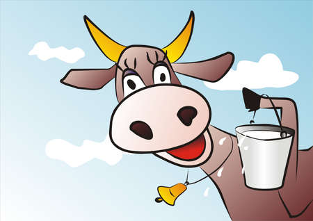 cow and milk Illustration