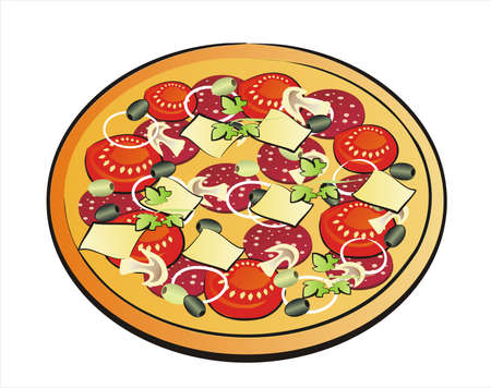 pizza pie: pizza isolated illustration