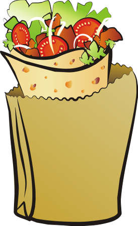donner kebab isoleted illustration Vector