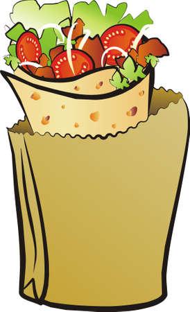 donner: donner kebab isoleted illustration Illustration