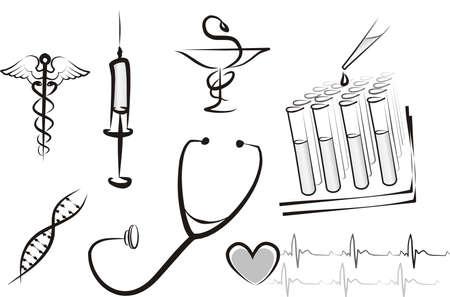 estetoscopio corazon: conjunto de concepto aislado de medicina