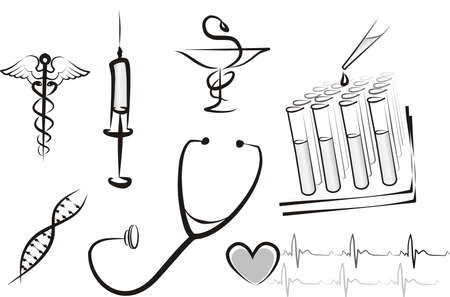 spital ger�te: Medicine isoliert konzept set
