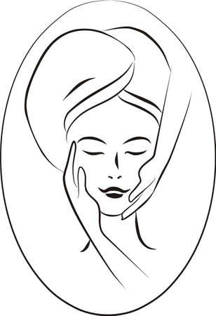 concept illustration of facial massage