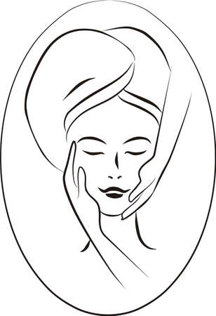 skincare facial: concept illustration of facial massage