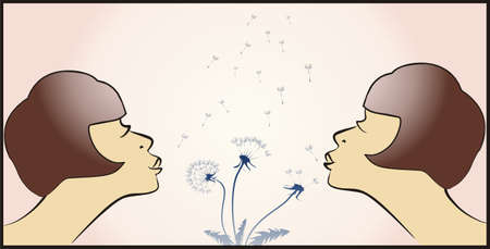 two women blowing a dandelion illustration Vector