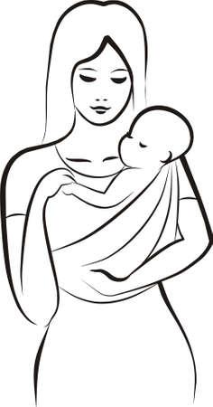 draagdoek: moeder die een kind in de sling