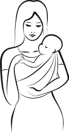 mother carrying a child in  sling Vector