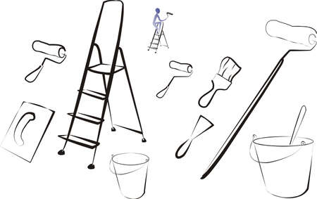 set of isolated painting tools and brushes Vector