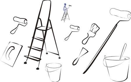 set van geïsoleerde tekengereedschappen en borstels Stock Illustratie