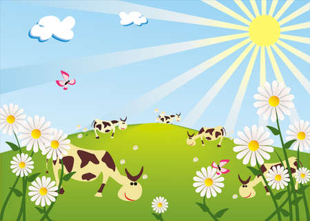 funny cows pasture on the sunny meadow Vector