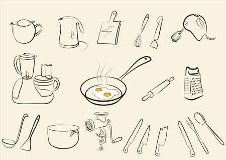 reibe: Satz von Kitchen tools Illustration