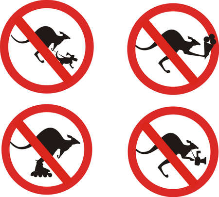 set of kangaroos signs Vector