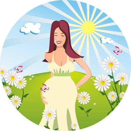young pregnant woman on the sunny meadow background Illustration