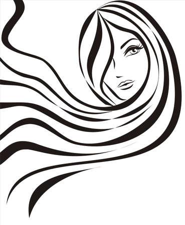 taglio capelli: sketch del concetto di giovane donna bella