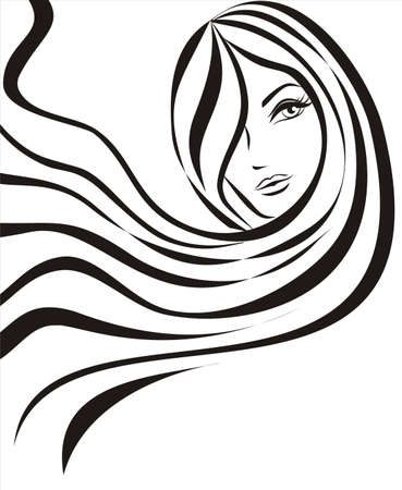 young beautiful woman concept sketch Vector