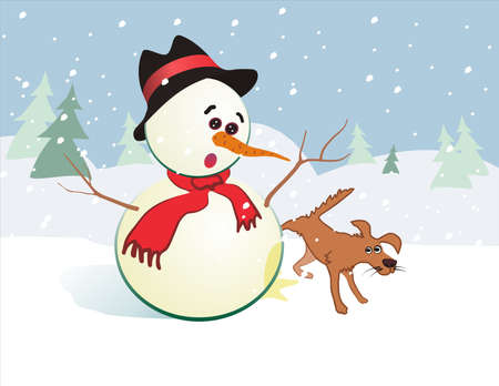 snowman and dog  funny christmas card Illustration
